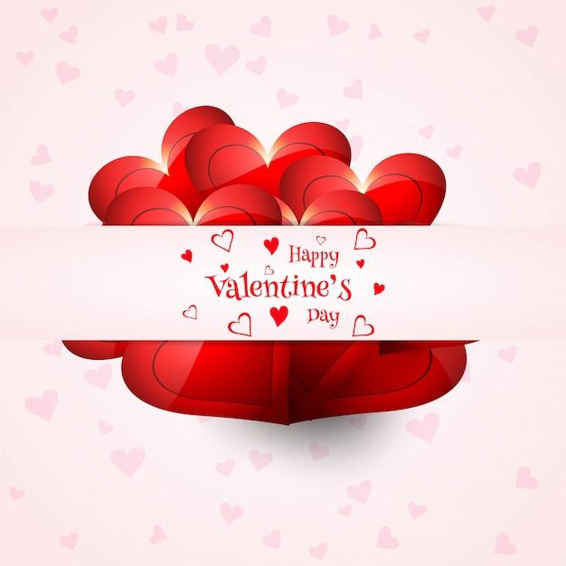 Elegant Happy Valentine S Day Love Card Heart Design Vector Free