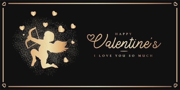 Elegant happy valentine's day with golden cupido silhouette Free Vector
