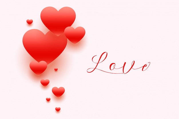 Elegant hearts background with love text Free Vector