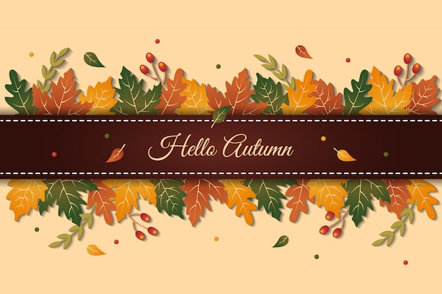 Elegant hello autumn greeting background with colorful leaves Premium Vector