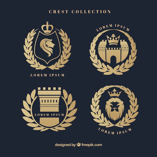 Elegant heraldic shields with laurel wreath Free Vector