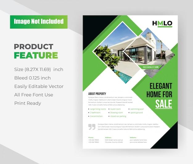 Modello volantino - casa elegante in vendita immobiliare. Vettore gratuito