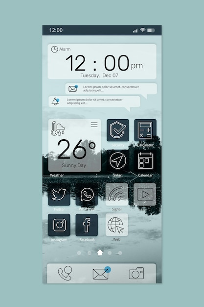 Elegante interfaccia della schermata iniziale Vettore gratuito