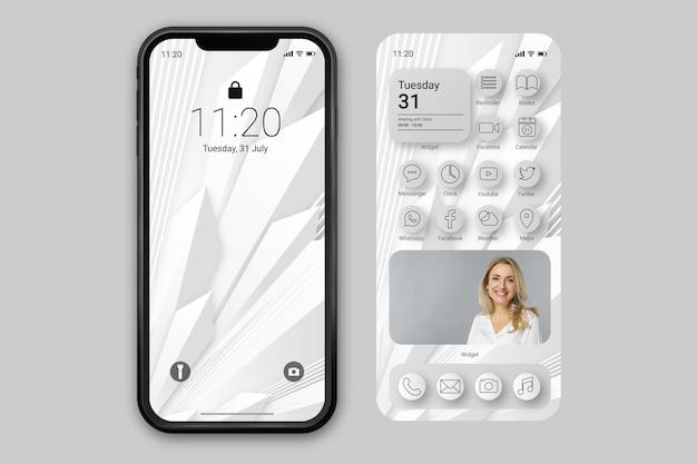 Элегантный шаблон домашнего экрана для смартфона Premium векторы