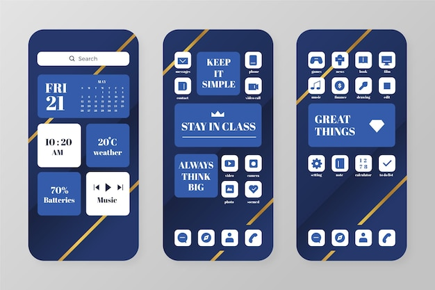 Elegant home screen template for smartphone Free Vector
