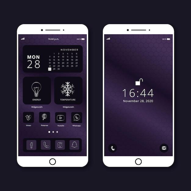 Elegante modello di schermata iniziale per smartphone Vettore gratuito