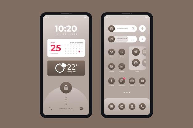 Elegante tema della schermata iniziale per smartphone Vettore gratuito