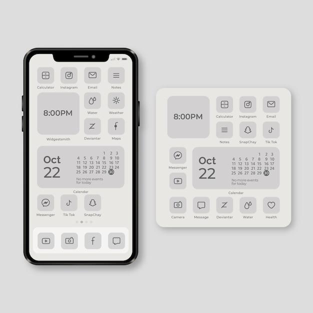 Elegant home screen theme for smartphone Premium Vector