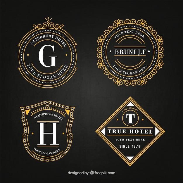 Elegant hotel logos in vintage style pack Free Vector