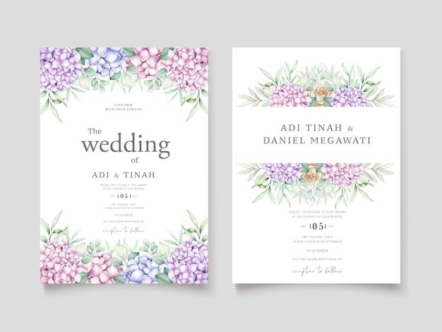 Elegante set di carte acquerello ortensie Vettore gratuito