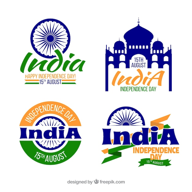 Elegant india independence day labels
