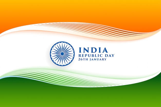 Elegant indian flag for happy republic day Free Vector