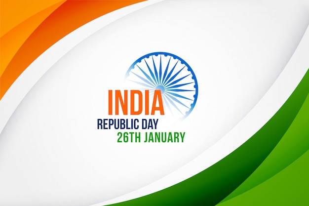 Elegant indian happy republic day design Free Vector