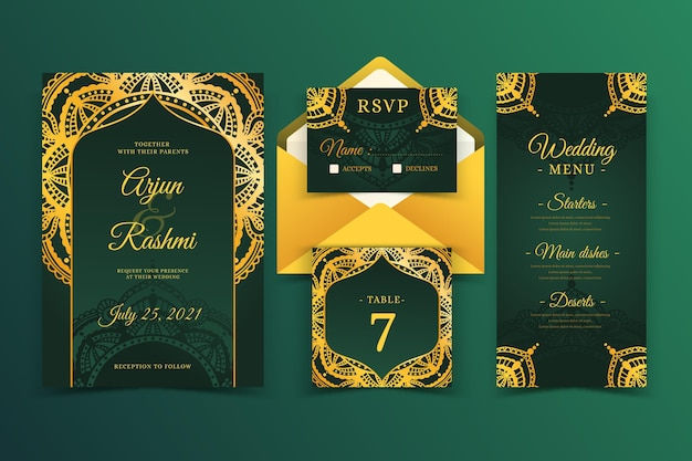 Elegant indian wedding card template Free Vector