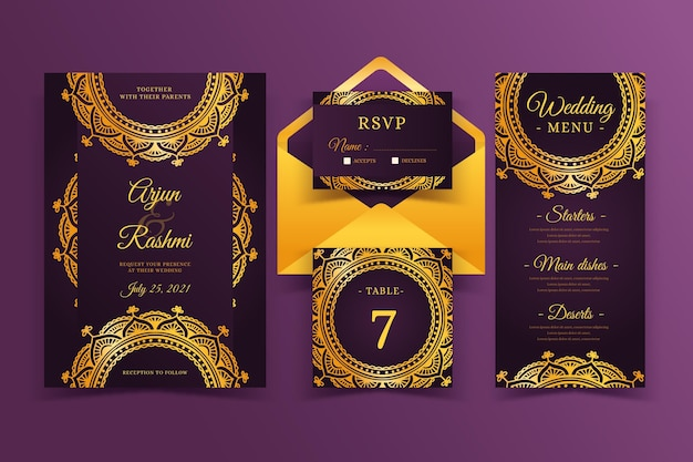 Elegant indian wedding invitation template Free Vector