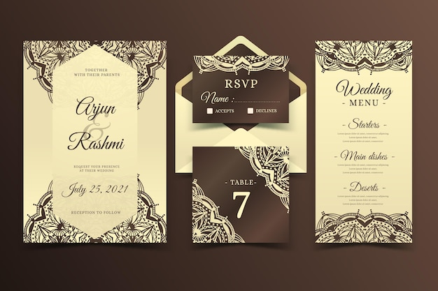 Elegant indian wedding stationery Free Vector