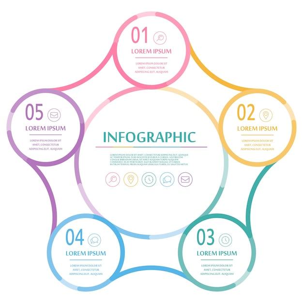 Элегантный инфографический дизайн с красочными тонкими линиями Premium векторы