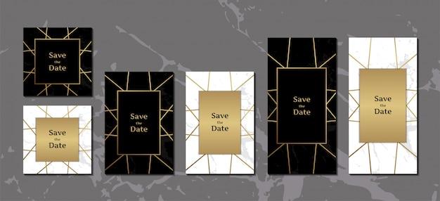 Elegant invitation cards black and white Premium Vector