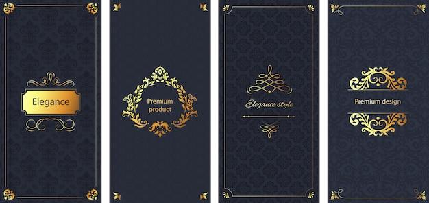 エレガントな招待状。装飾的なダマスク織の飾りパターン、ゴールデンフレーム、バロック様式の華やかな高級パンフレット背景セット Premiumベクター