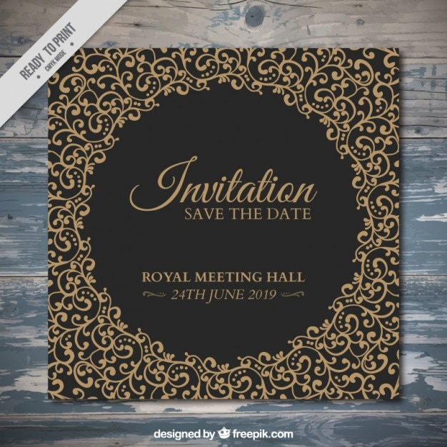 Elegant invitation with hand drawn ornaments Free Vector