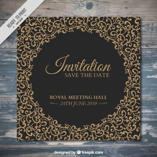 Elegant invitation with hand drawn ornaments Free Vector
