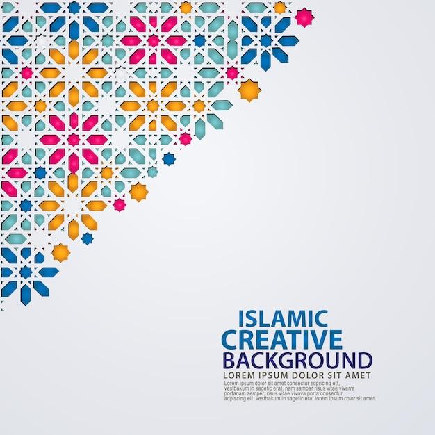 Elegant islamic creative background template with ornamental colorful mosaic Premium Vector