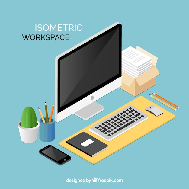 Elegant isometric workspace Free Vector