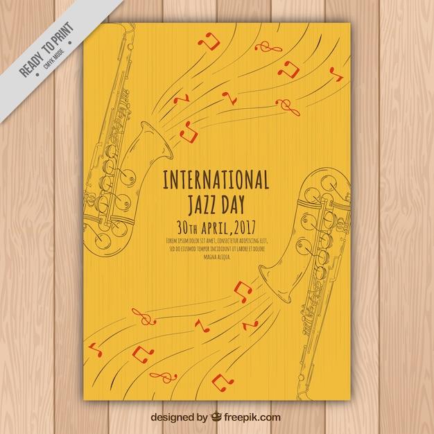 Elegant jazz brochure of saxophone sketches Free Vector