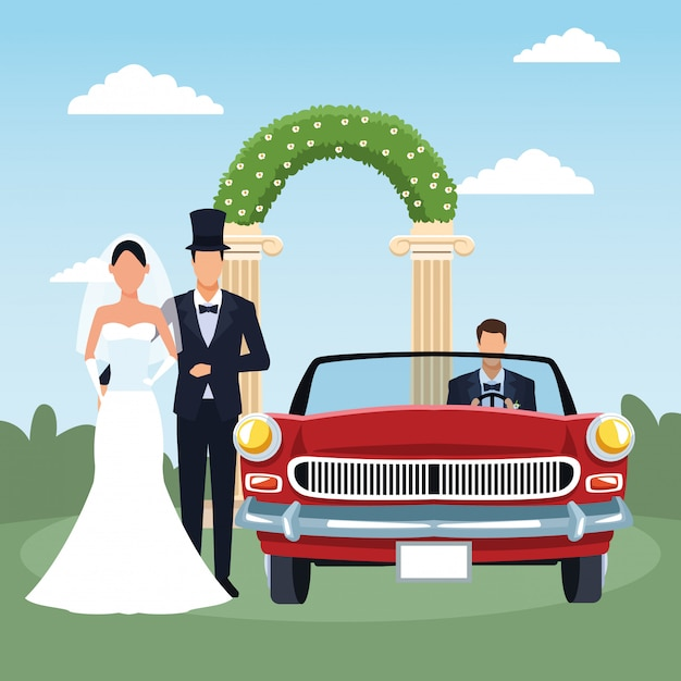 Elegant just married couple and red classic car Premium Vector
