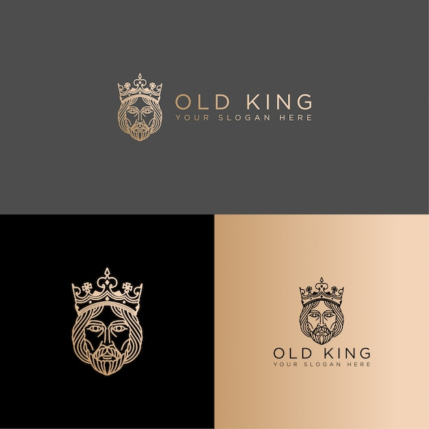 Elegant king line art logo editable template Premium Vector