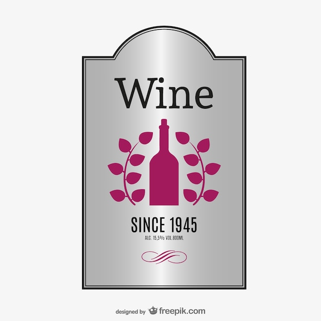 Elegant label of wine vector
