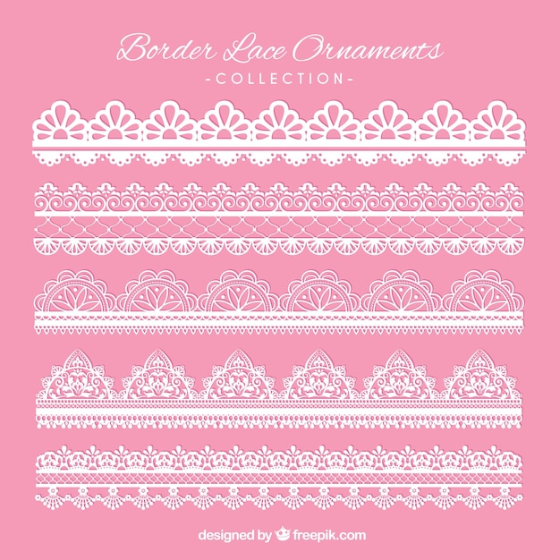Elegant lace borders for decoration Free Vector