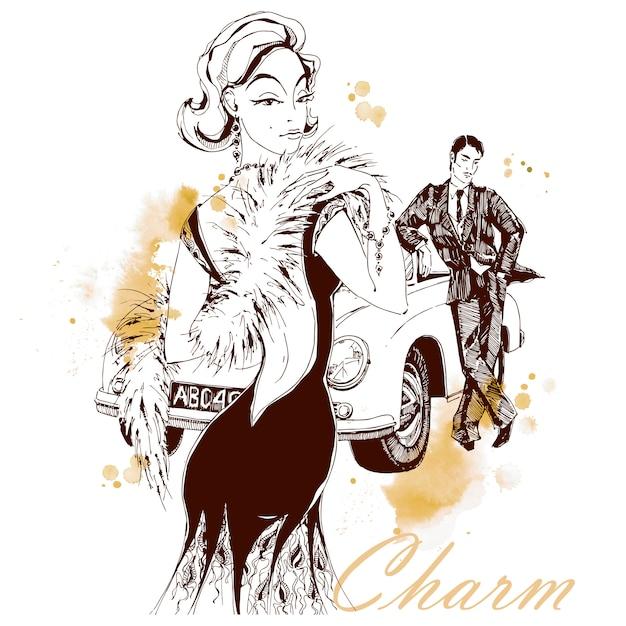 Elegant lady and gentleman in retro style. car. charm Premium Vector