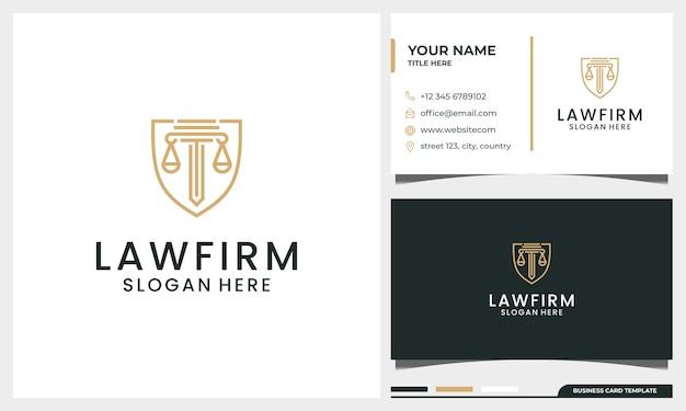 Элегантный логотип адвоката юридической фирмы с шаблоном визитной карточки в стиле pillar line art Premium векторы