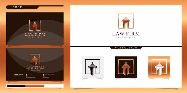 Элегантный шаблон логотипа юридической фирмы. дизайн логотипа и визитная карточка Premium векторы