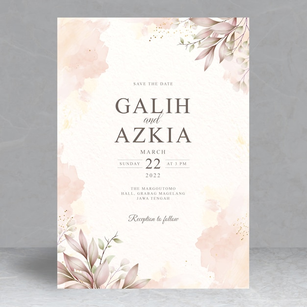 Elegant leaves wedding invitation card template Premium Vector
