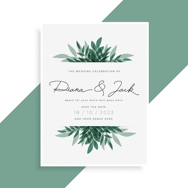 Elegant leaves wedding invitation card Free Vector
