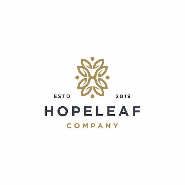 Elegant letter h with leaf logo design Premium Vector
