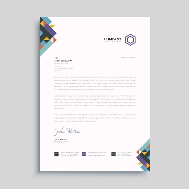 Elegant letterhead design template Premium Vector