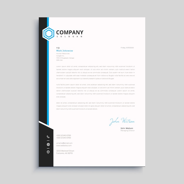 Elegant letterhead template design in minimalist style Premium Vector