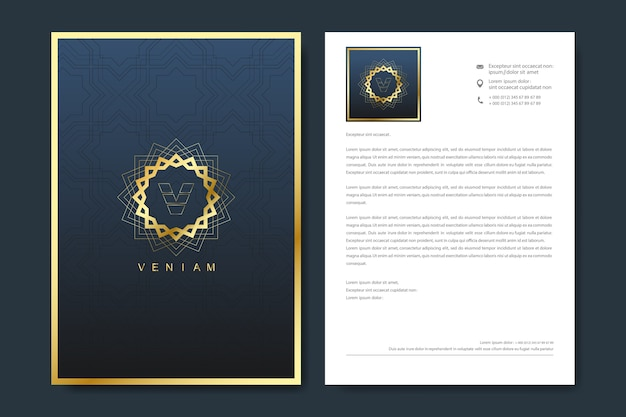 Elegant letterhead template in minimalist style with logo. Premium Vector