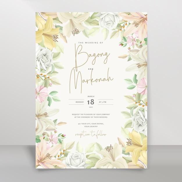 エレガントなユリの結婚式の招待カードセット 無料ベクター