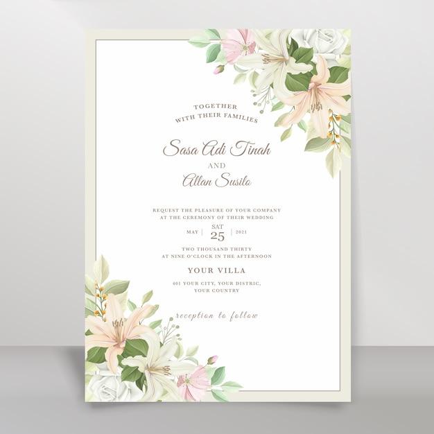 Set di carte invito matrimonio elegante giglio Vettore gratuito