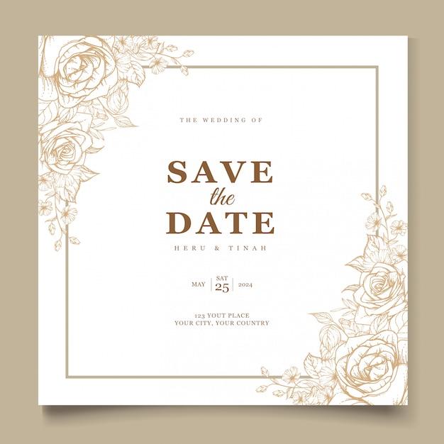 free vector  elegant line art wedding invitation card
