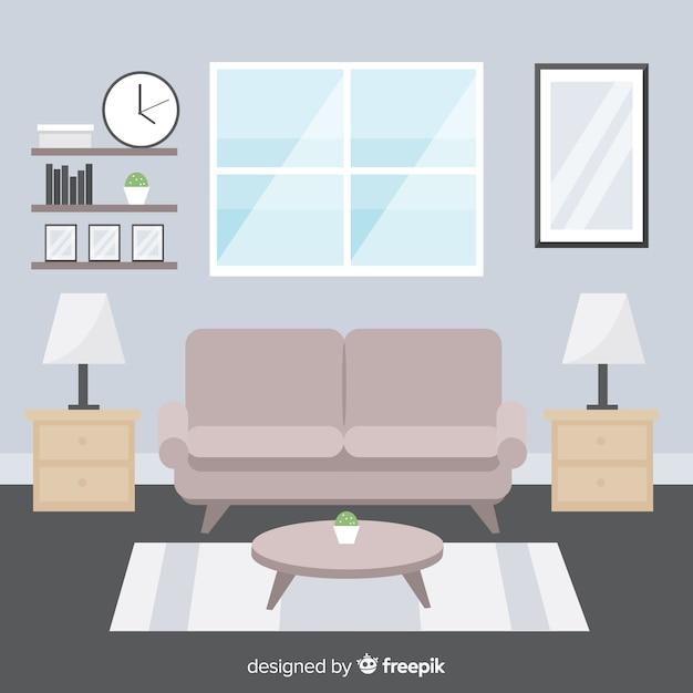 Elegant Living Room Interior With Flat, Elegant Living Room