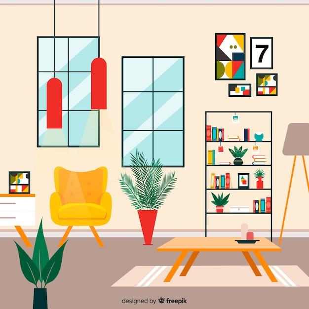 Elegant living room interior with flat design Free Vector