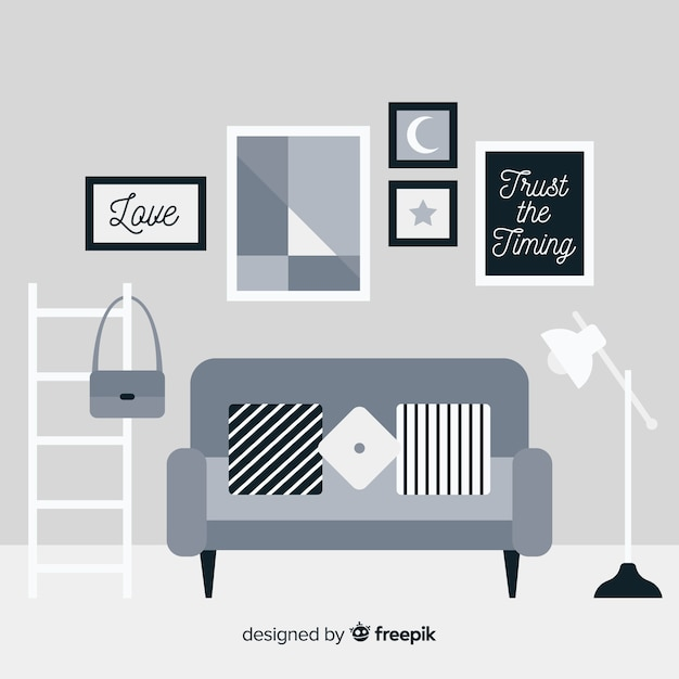 Elegant living room interior with flat design Free Vector