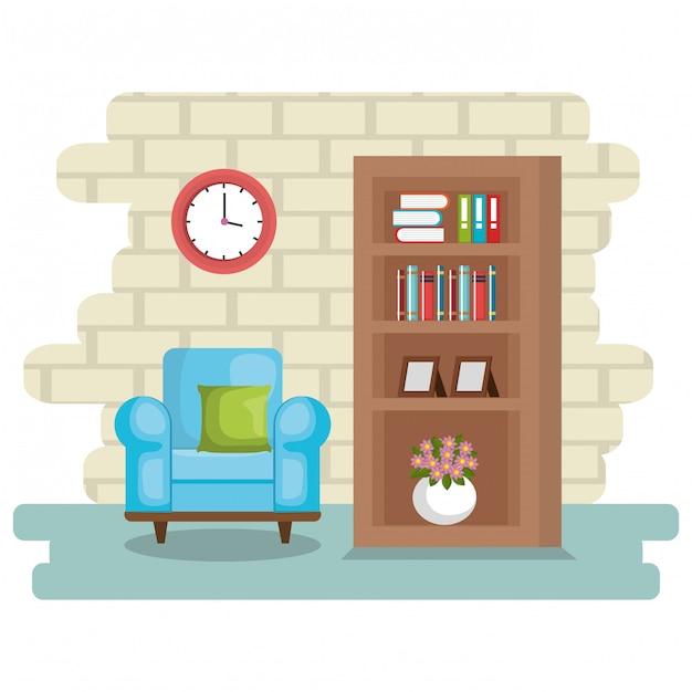 Elegant living room scene Free Vector