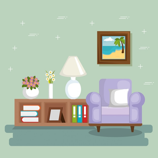 Elegant living room scene Free Vector