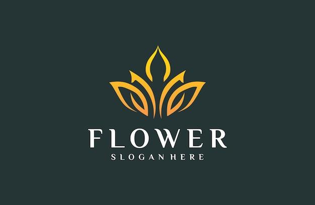 Elegant logo flowers Premium Vector